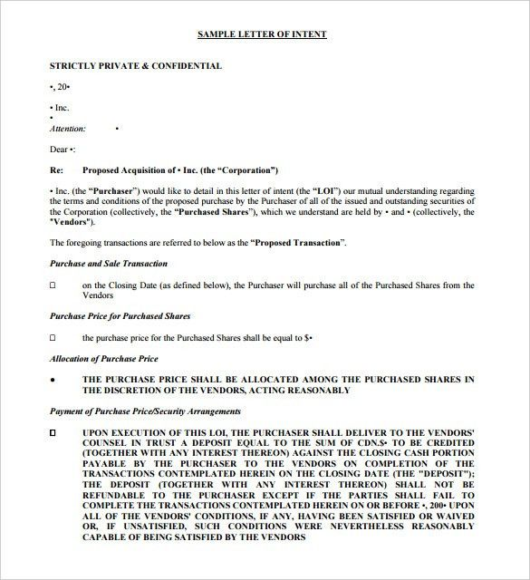 Purchase Letter Of Intent – 10+ Free Word, PDF Format Download ...