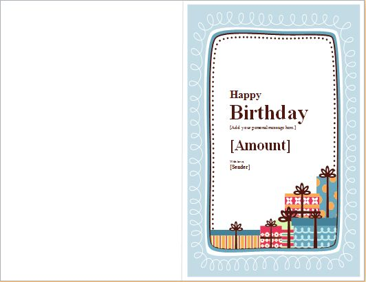 Birthday Note Card Template for WORD | Word & Excel Templates