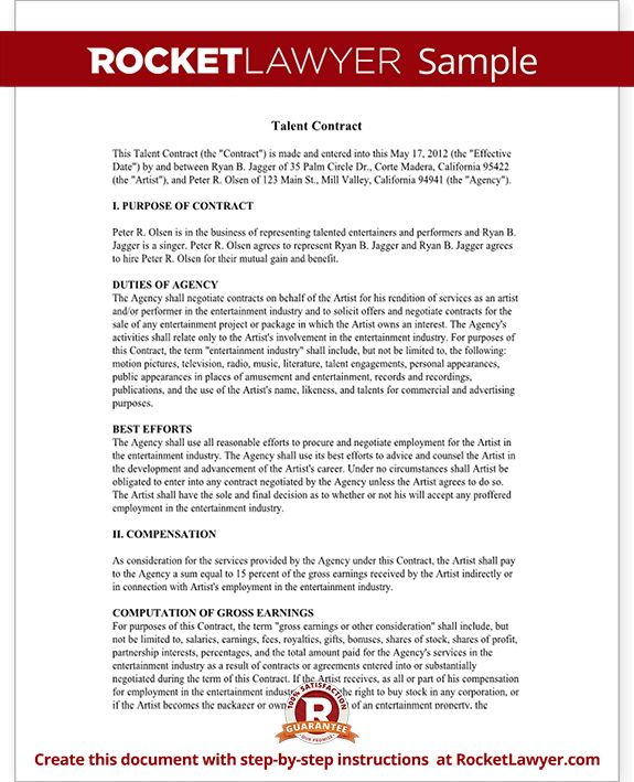 Talent Agreement - Talent Contract Template (with Sample)