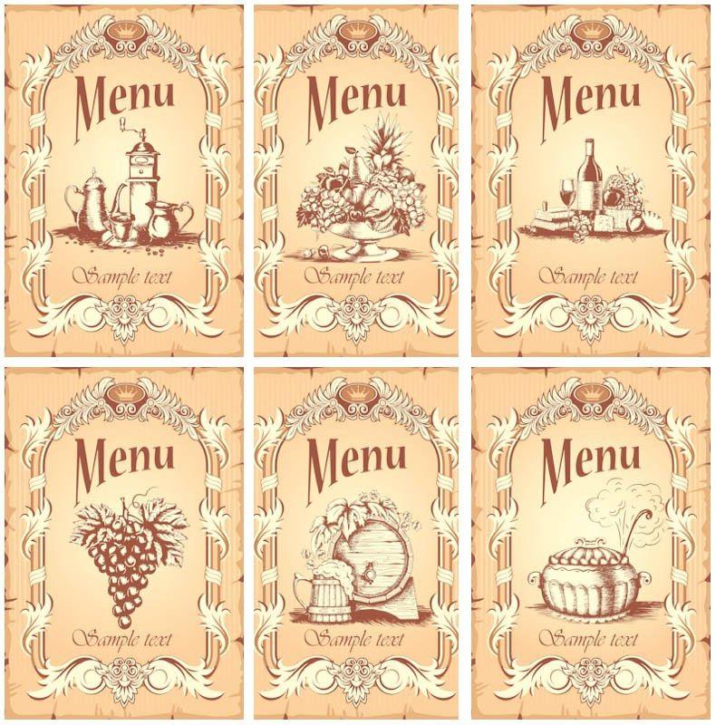Vintage restaurant menu templates vector   Vector Graphics Blog