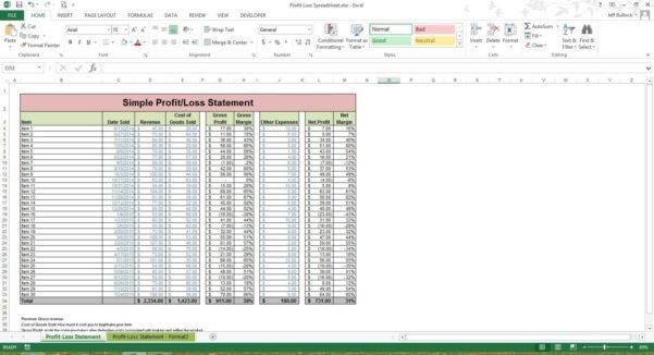 Profit And Loss Statement Simple, profit loss statement. 2000 ...