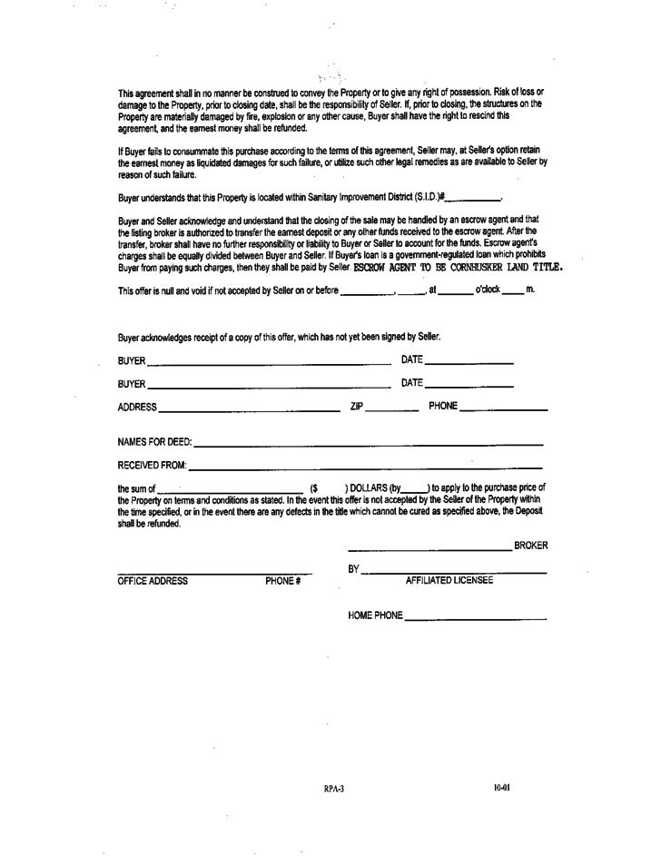 Residential Purchase Agreement - Nebraska Free Download