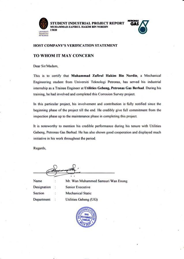 PETRONAS Completion Letter