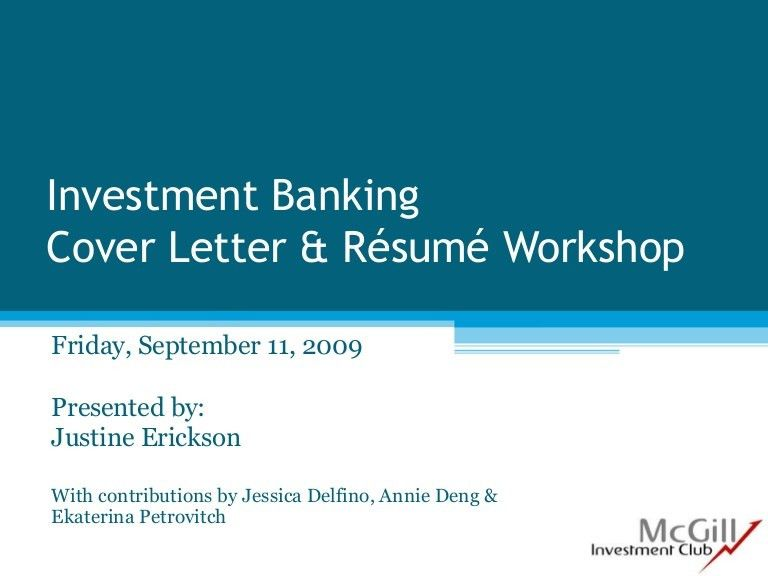 Resume And Cover Letter Workshop Sept 2009