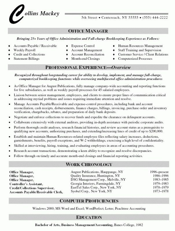Office Manager Resume Template - cv01.billybullock.us