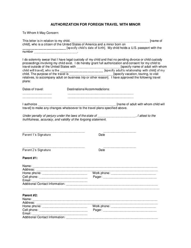 Consent Letter For Children Travelling Abroad | Best Business Template