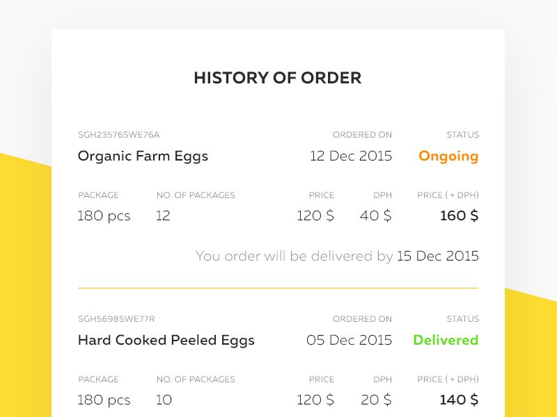 Order History Page   History, App design and Ui design