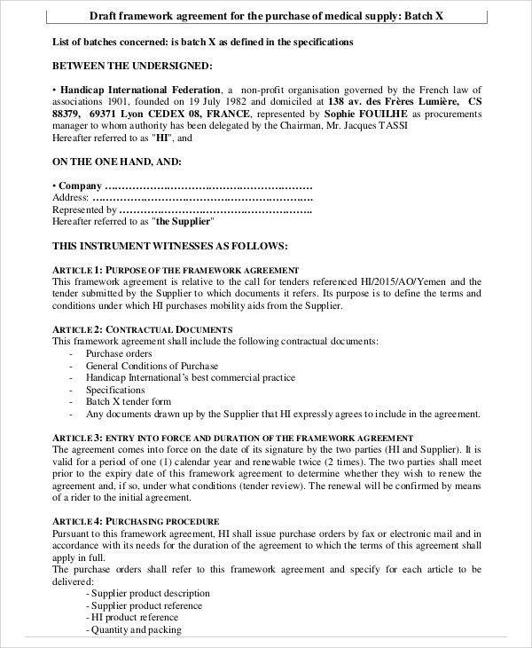 9 Framework Agreement Templates - Free Sample, Example Format ...