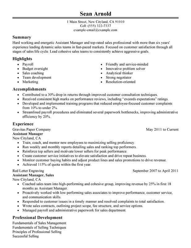 Assistant Manager Resume Sample | Experience Resumes