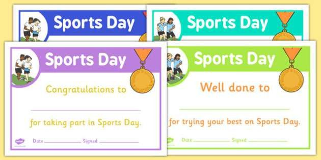 Sports Day Certificate Template - sports day, effort