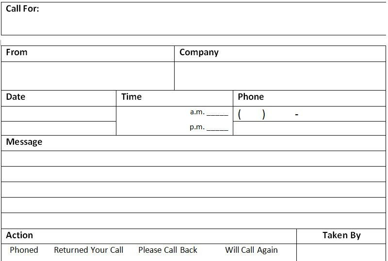 Phone Call Message Memo Template - Excel About