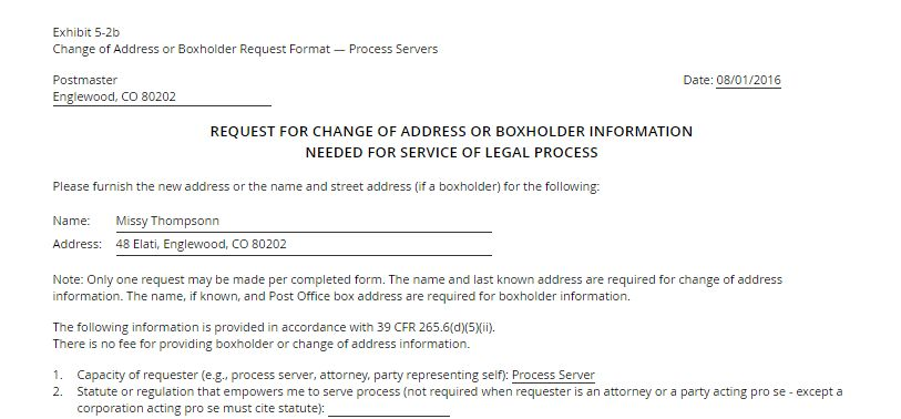 Change of Address Request and Other New Forms