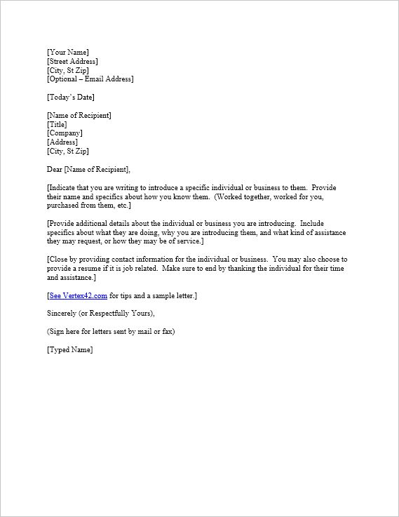 Free Letter of Introduction Template | Sample Introduction Letter
