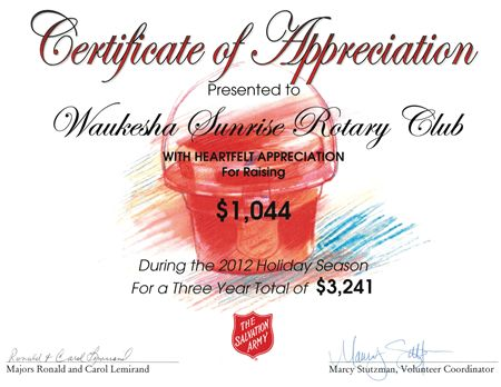 Salvation Army Certificate of Appreciation | Rotary club of ...