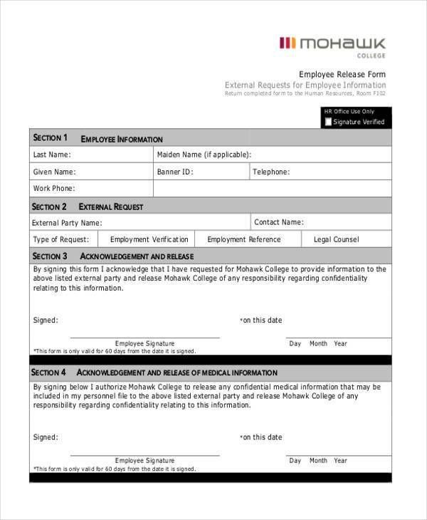 Sample Employment Release Forms - 9+ Free Documents in PDF