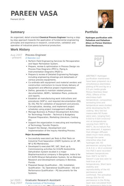 Process Engineer Resume samples - VisualCV resume samples database