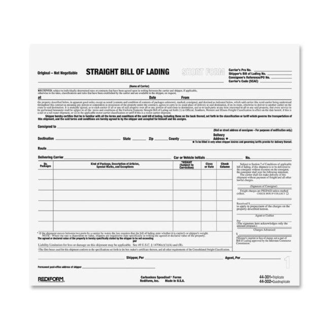Rediform 44301 Snap-A-Way Bill of Lading Forms 3 Part - Carbonless ...