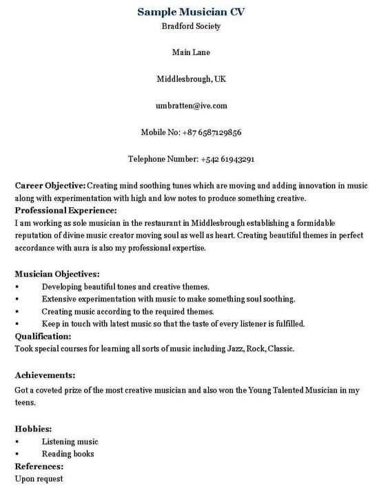 musician resume sample music resume sample resume genius music