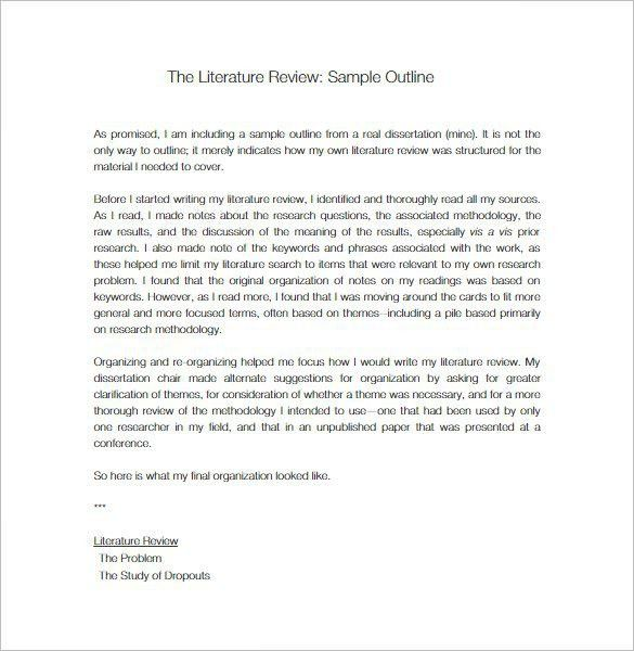 Literature Review Outline Template – 8+ Free Sample, Example ...