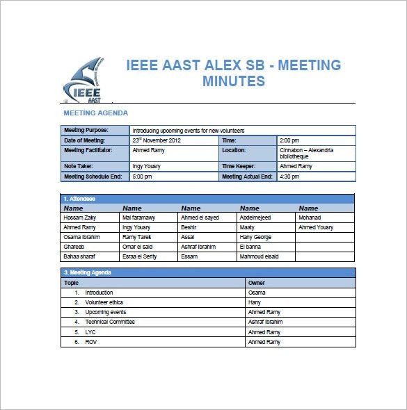 Project Meeting Minutes Template – 7+ Free Sample, Example Format ...