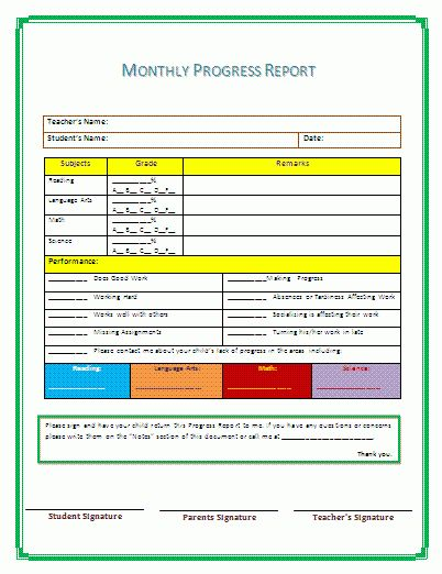 Progress Report Template | A to Z Free Printable Sample Forms