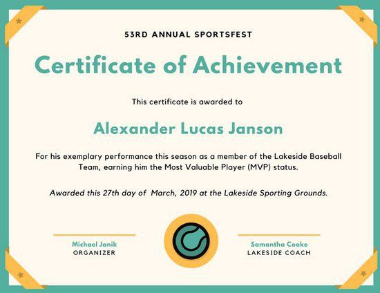 Teal Baseball Icon Sport Certificate - Templates by Canva