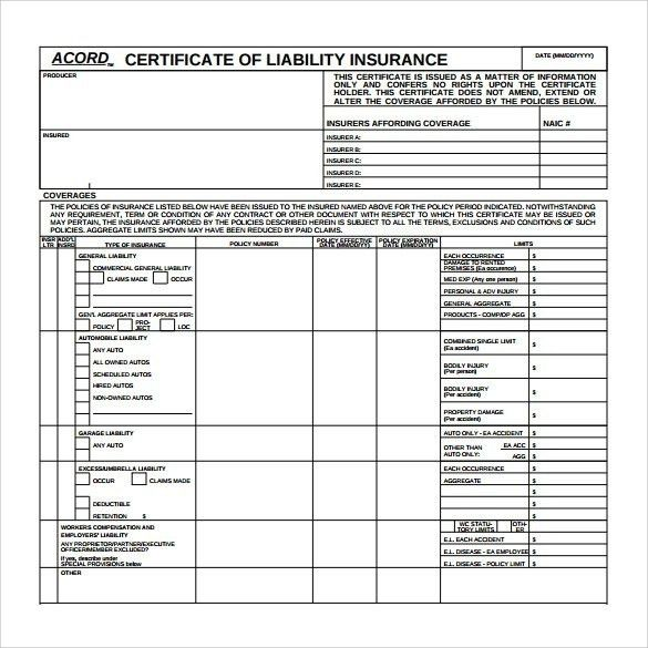 Certificate Of Liability Insurance Template | Template Idea