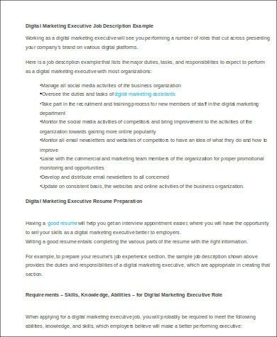 Sample Marketing Executive Resume - 8+ Examples in Word, PDF