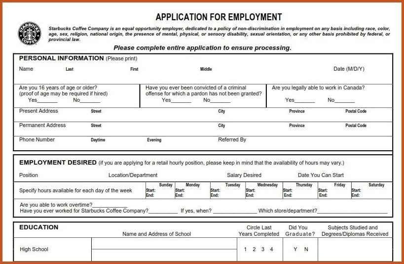 job application form pdf | sop example