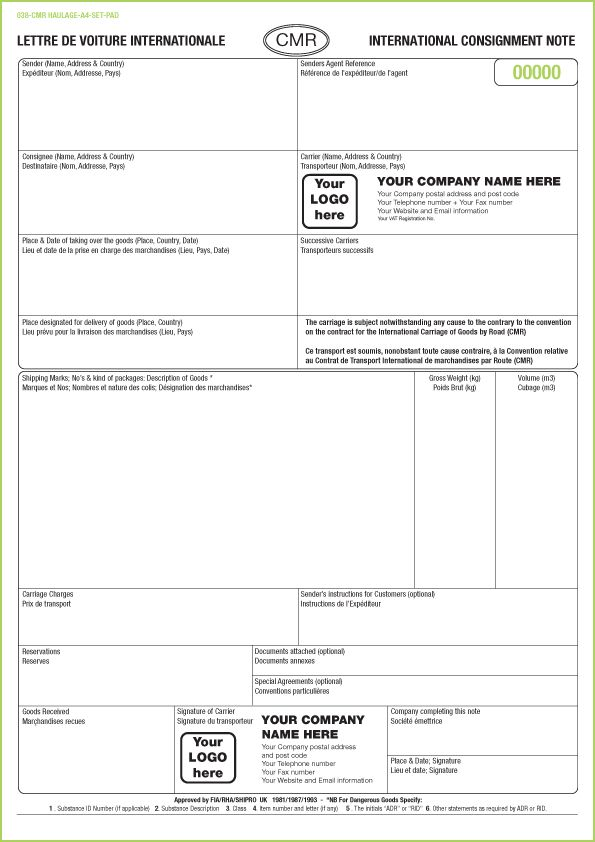 CMR Consignment Note Sets printed from £90 with FREE CMR Note Template