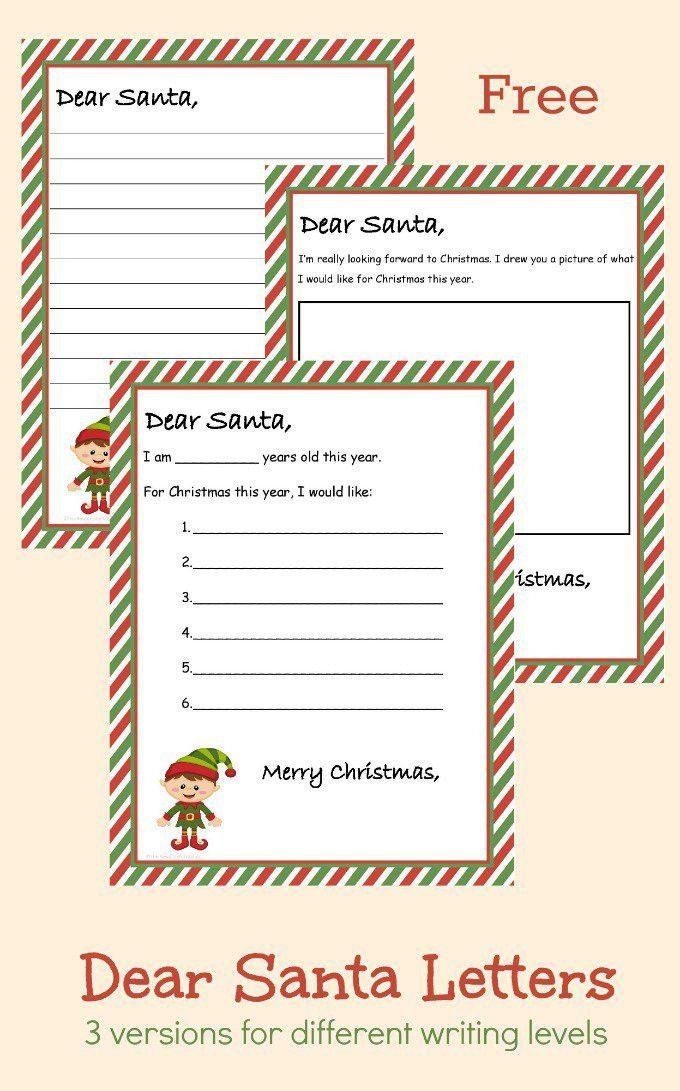 Free Printable Dear Santa Letter (3 Different Versions)