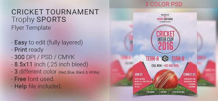 Cricket Tournament Trophy Sports Flyer Template - DevItems LLC
