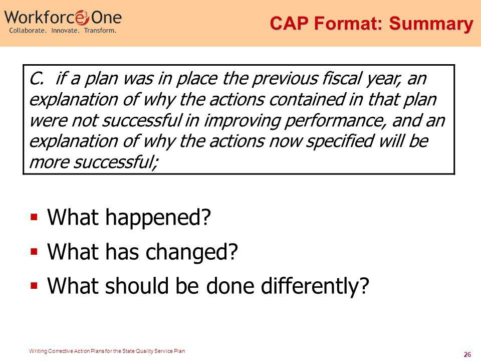 Writing Corrective Action Plans for the State Quality Service Plan ...