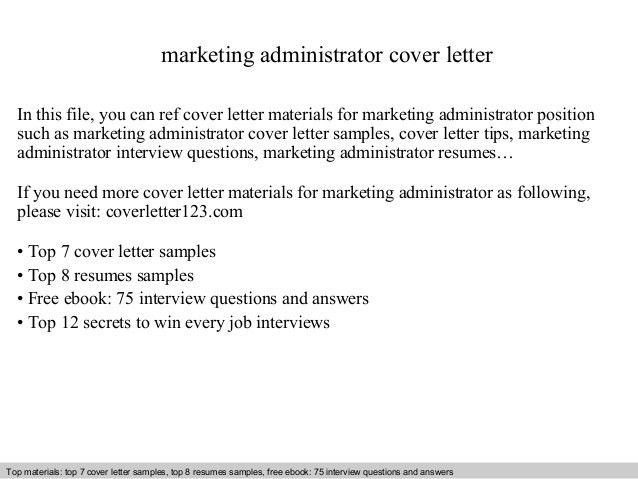 Marketing administrator cover letter