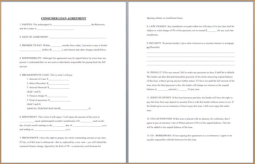 5+ free loan agreement template | Outline Templates