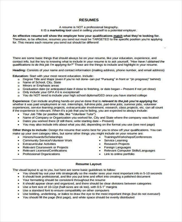 Summer Job Resumes - 9+ Free Word, PDF Format Download | Free ...
