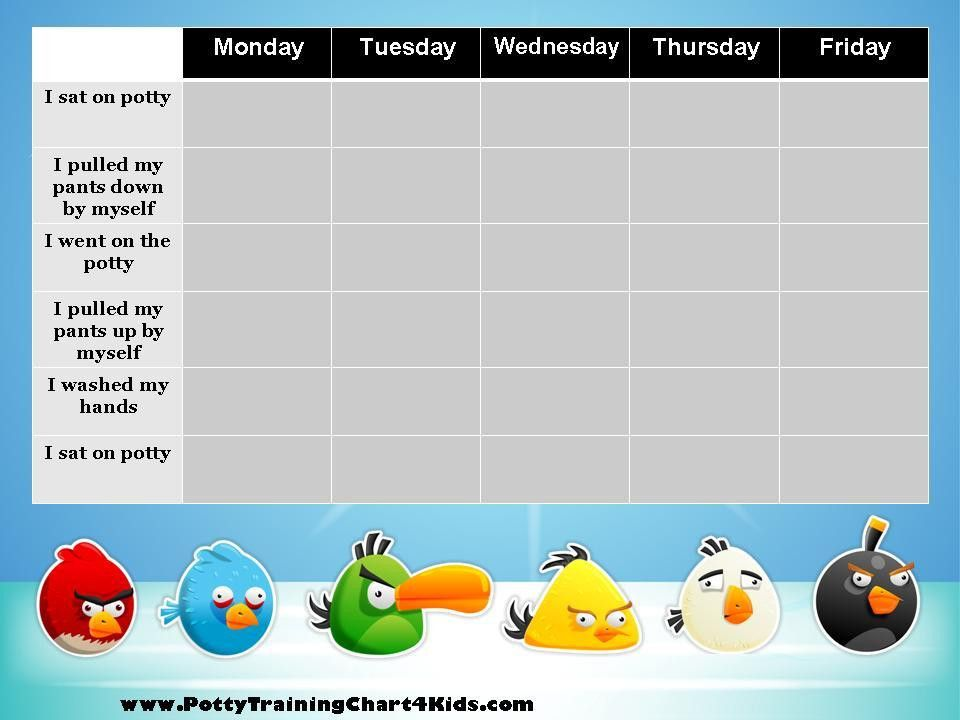 Angry Birds Potty Training Chart