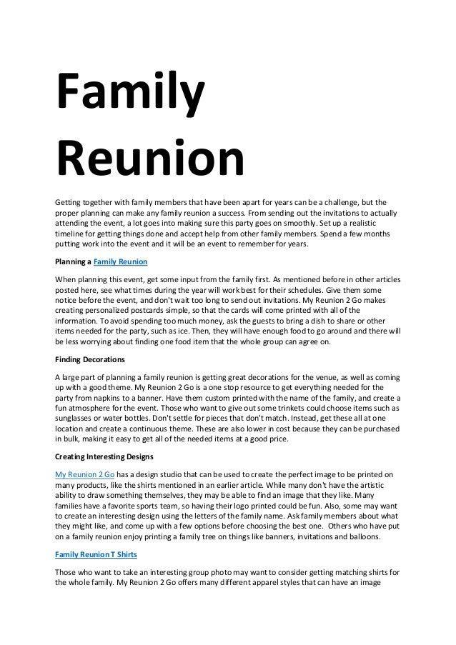 Family Reunion Letter Template | Templates Ideas
