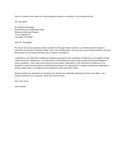 Awesome Application Letter For Fresh Graduate Architect Images ...