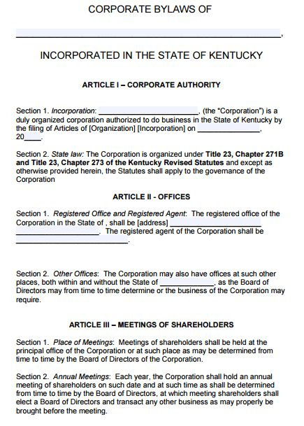 Free Kentucky Corporate Bylaws Template | PDF | Word |