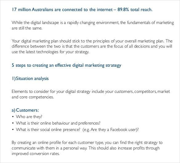 Digital Marketing Strategy Template – 11+ Word, Excel, PDF, PPT ...