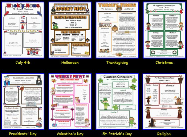 Custom Classroom Newsletter Printable - Sample Home