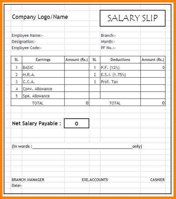 Payslip Format In Excel Free Download, 7+ salary payslip format in ...