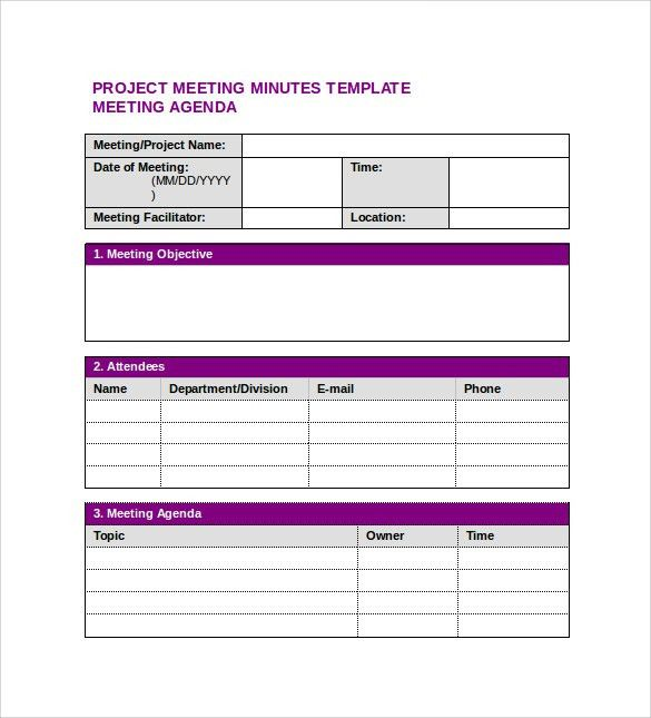 Sample Project Meeting Minutes Template - 9+ Free Documents in PDF ...
