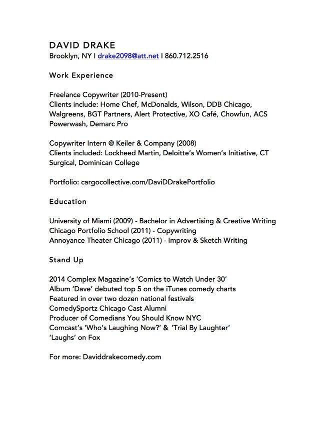 Resume (Copywriting) - David Drake