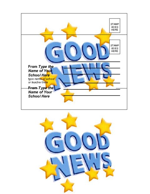 Education World: Good News Postcard Template