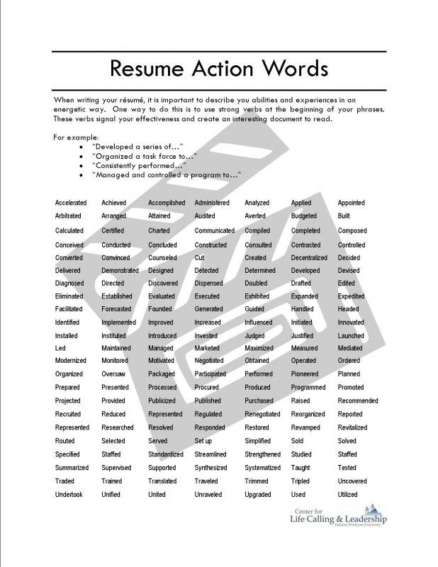 good action verbs for resumes samples of resumes resume action - List Of Action Verbs