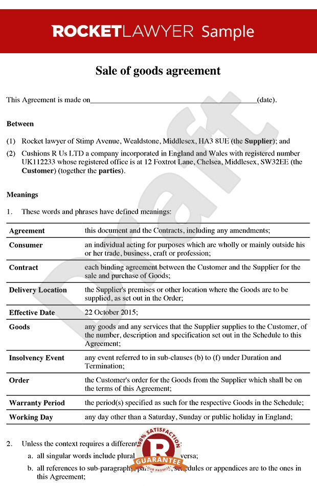 of Goods Agreement - B2B Sale of Goods Contract - Sell Your Goods