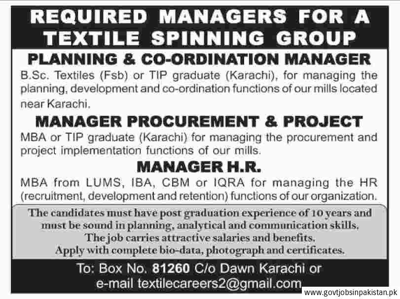 Textile Spinning Group Job, Planning Co-Ordination Manager ...
