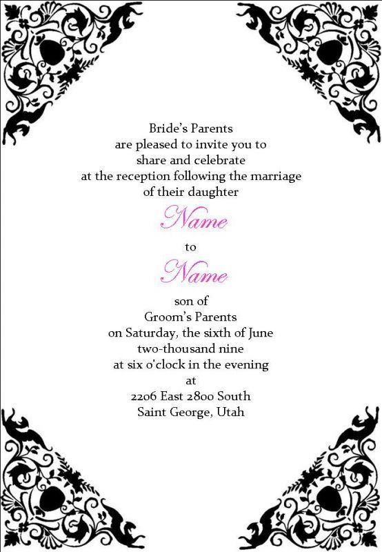 Wedding Reception Invitation Wording Template | Best Template ...